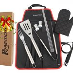 ROMANTICIST SPECIAL OFFER at a Limited Time for 20th Anniversary Celebration - 7pc Heavy Duty Stainless Steel BBQ Tool Set - Grill Gift Kit for Men Dad on Fathers Day